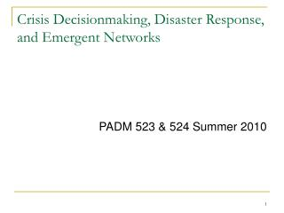 Crisis Decisionmaking, Disaster Response, and Emergent Networks