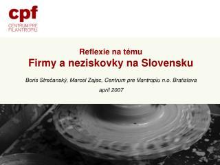 Reflexie na tému Firmy a neziskovky na Slovensku