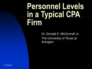 Personnel Levels in a Typical CPA Firm