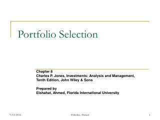 Portfolio Selection