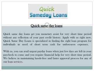Quick Same Day Loans