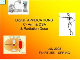 Digital  APPLICATIONS  C- Arm  DSA  Radiation Dose
