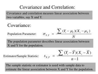 Covariance and Correlation: