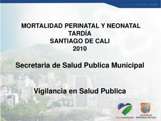 MORTALIDAD PERINATAL Y NEONATAL TARDÍA SANTIAGO DE CALI  2010 Secretaria de Salud Publica Municipal Vigilancia en Salud