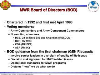 MWR Board of Directors BOD