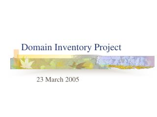 Domain Inventory Project