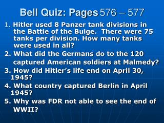 Bell Quiz: Pages 576 – 577
