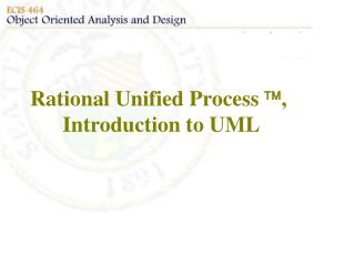 Rational Unified Process  , Introduction to UML