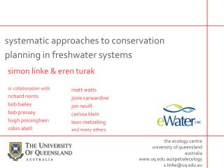 systematic approaches to conservation planning in freshwater systems
