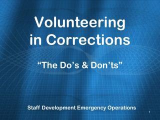 Volunteering in Corrections