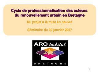 Cycle de professionnalisation des acteurs  du renouvellement urbain en Bretagne  Du projet   la mise en oeuvre  S minair