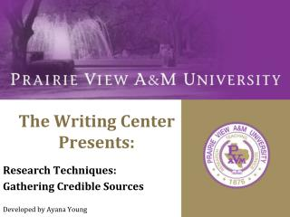 The Writing Center Presents:
