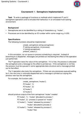 Coursework 1 : Semaphore Implementation