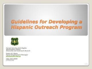 Guidelines for Developing a Hispanic Outreach Program