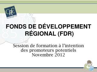 FONDS DE DÉVELOPPEMENT  RÉGIONAL (FDR)