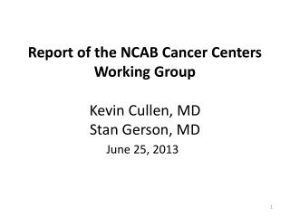 Report of the NCAB Cancer Centers Working Group Kevin Cullen, MD Stan Gerson, MD