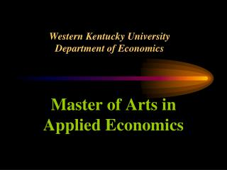 Western Kentucky University Department of Economics