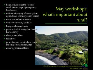 May workshops: what's important about rural?