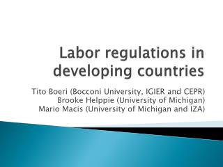 Labor regulations in developing countries