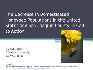 The Decrease in Domesticated Honeybee Populations in the United States and San Joaquin County: a Call to Action