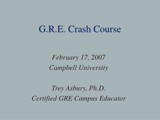 G.R.E. Crash Course