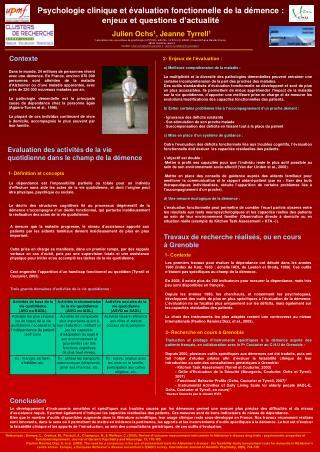 Psychologie clinique et évaluation fonctionnelle de la démence : enjeux et questions d'actualité