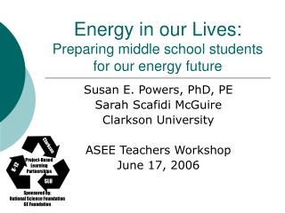 Energy in our Lives: Preparing middle school students for our energy future