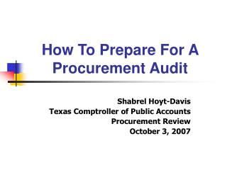 How To Prepare For A Procurement Audit