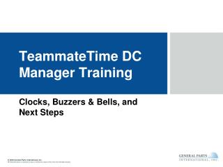 TeammateTime DC Manager Training