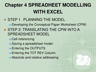 Chapter 4 SPREADHEET MODELLING WITH EXCEL