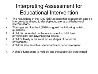 Interpreting Assessment for Educational Intervention