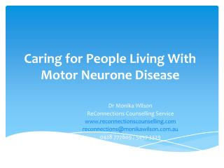 Caring for People Living With Motor Neurone Disease