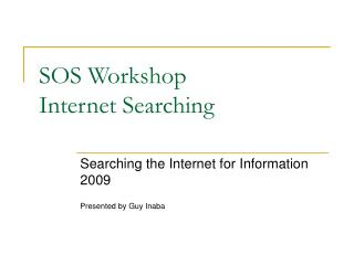 SOS Workshop Internet Searching