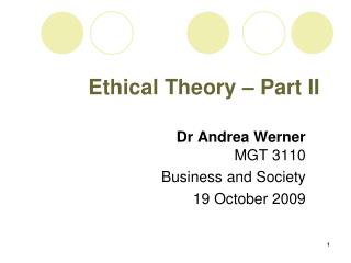 Ethical Theory – Part II