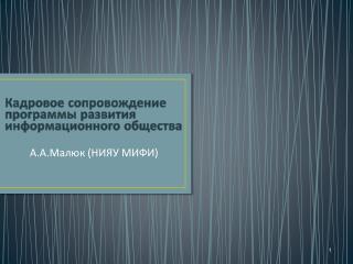 Кадровое сопровождение  программы развития  информационного общества