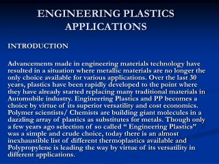 ENGINEERING PLASTICS  APPLICATIONS