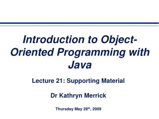 Introduction to Object-Oriented Programming with Java
