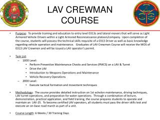 LAV CREWMAN  COURSE