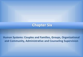 Human Systems: Couples and Families, Groups, Organizational and Community, Administrative and Counseling Supervision