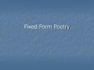 Fixed Form Poetry