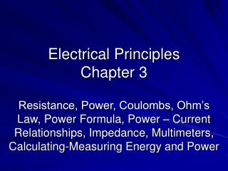 Electrical Principles Chapter 3
