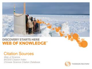 Citation Sources Web of Science BIOSIS Citation Index Chinese Science Citation Database