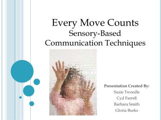 Presentation Created By: Suzie Tweedle Cyd Farrell Barbara Smith Gloria Burks