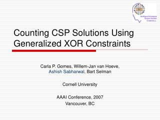 Counting CSP Solutions Using Generalized XOR Constraints