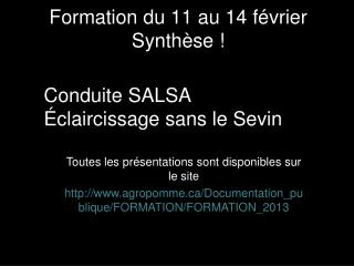 Formation du 11 au 14 février Synthèse !