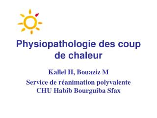Physiopathologie des coup de chaleur