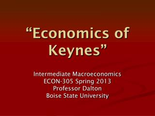 """Economics of Keynes"""