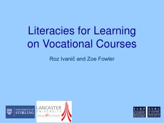 Literacies for Learning on Vocational Courses