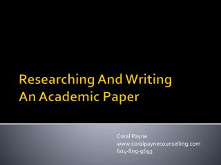 Researching And Writing  An Academic Paper