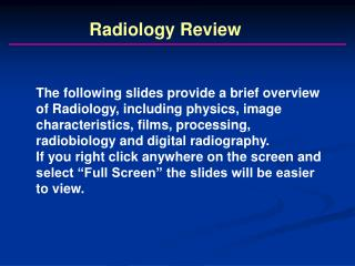 Radiology Review